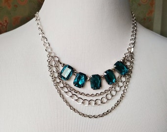 Blue Crystal Glass Beads Silver Chain Statement Necklace