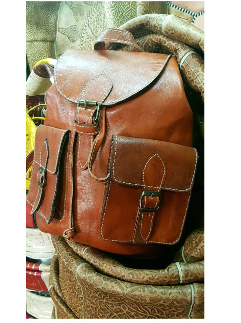 leather bag Moroccan bag. brown leather rucksack Handmade brown leather backpack real leather  backpack