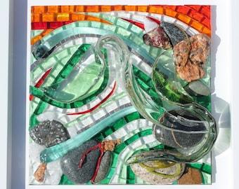 Mosaic painting of blown glass, glass, Venice smaltes, quartz, slates, pink granite and pebbles