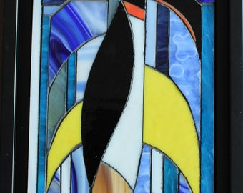 Table - Penguin - stained glass mosaic