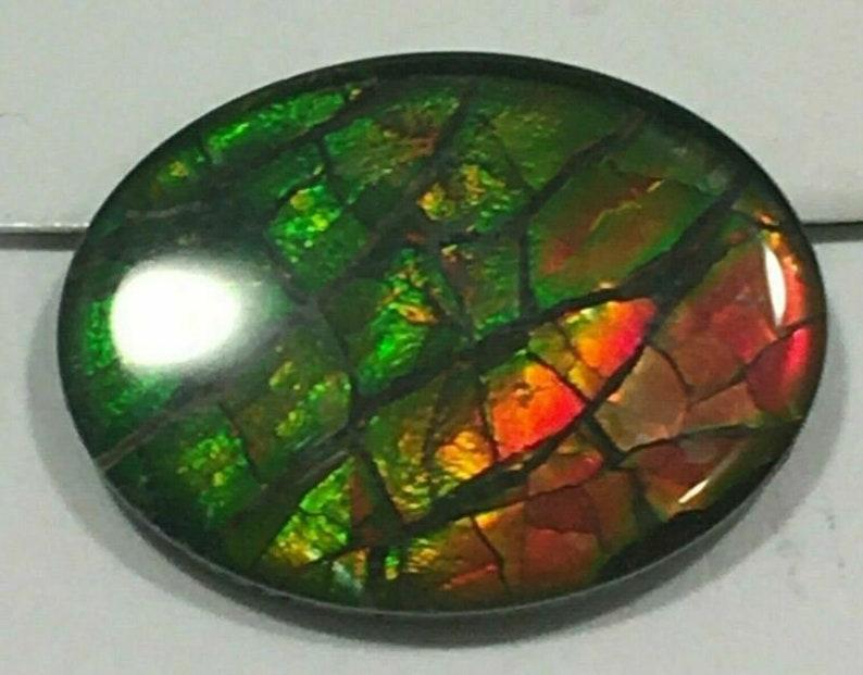 Ammolite Canada/'s Opal Triple Loose Gemstone Oval Dragon Scaled Red /& Green