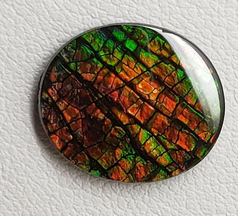 12 x 14 Ammolite Canada/'s Opal Oval Triplet Gemstone Dragon Skin Deep Green Colo