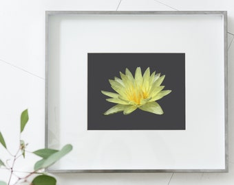 Yellow Lotus Flower Geometric Style Printable Digital Download | Home Decor