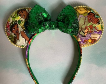 Princess and the Frog Tiana tiara 3D Ears with Pearls