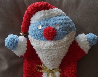 Hand puppets, hot water bottle cover, cuddly Santa