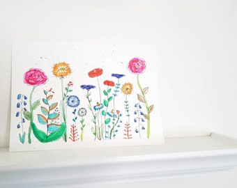 An original painting of colourfull wildflowers