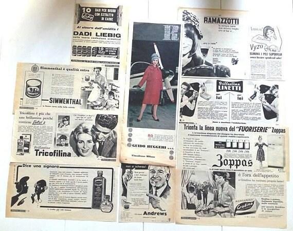 VINTAGE, 1958, 1959, scraps-publicité 1960-éphémères-SCRAPBOOKING, 1963-89 scraps-publicité 1959, provenant de vieux magazines et journaux-Italie 05ae72