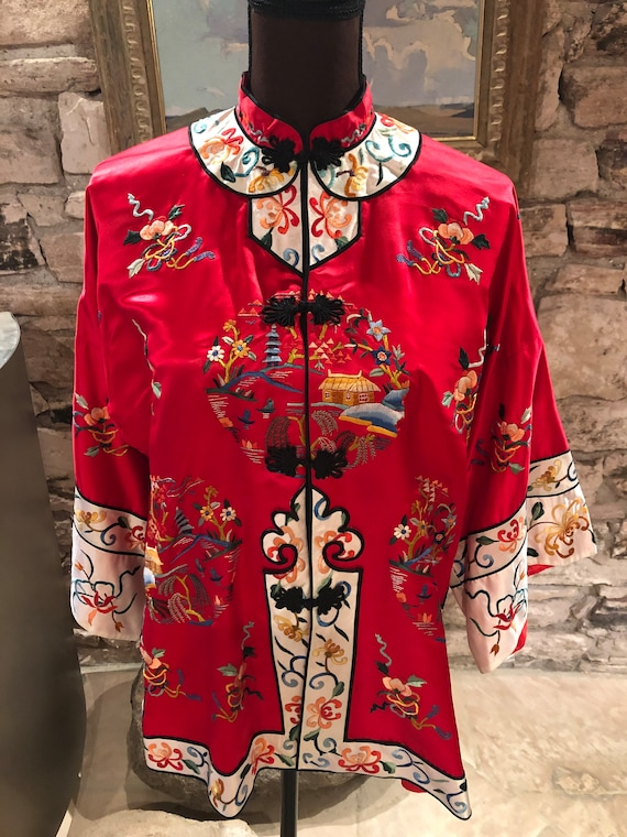 Vintage 1950s Red Silk Hand Embroidered Chinese Ja