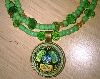 green celtic charm memory wire wraparound bracelet