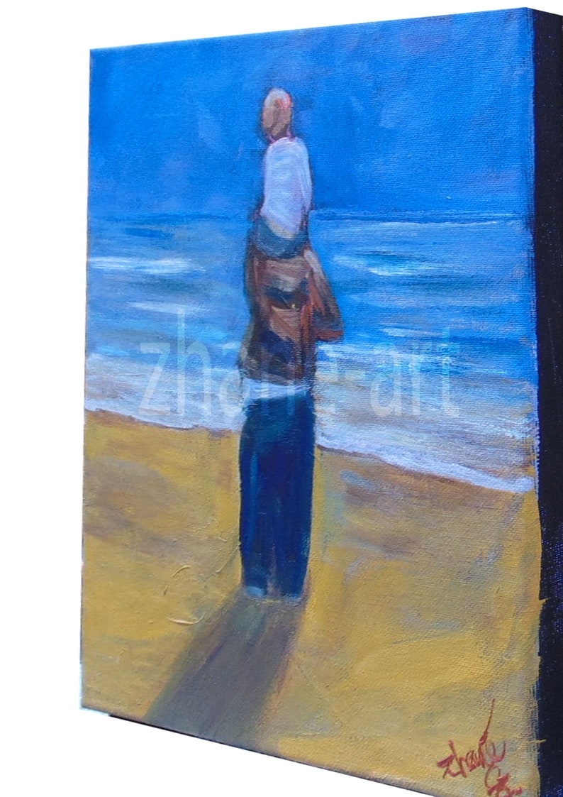 Memories Of A Day Out With My  Dad  original bespoke acrylic art on canvas by zhane