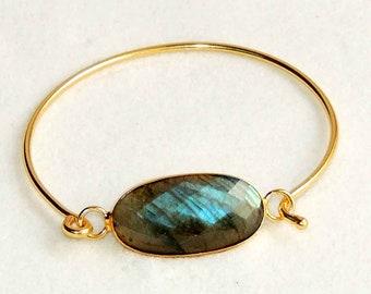 Labradorite 18k gold plated adjustable bangle