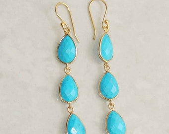 Turquoise sterling silver gold plated handmade dangle earring