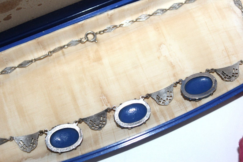 Antique ART DECO Sterling Silver Blue Carved Celluloid Marcasites Necklace NC7