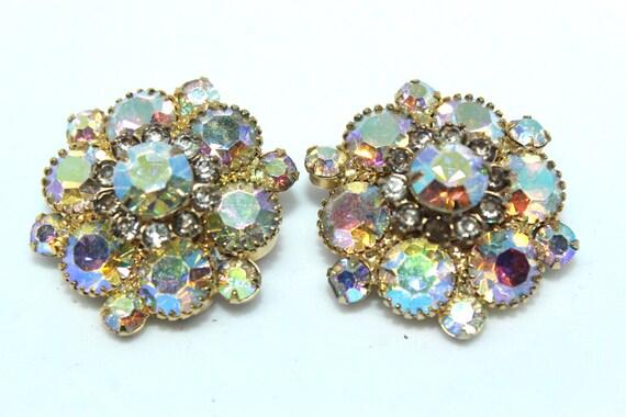 JULIANA STYLE Aurora Borealis rhinestone clip earrings vintage sparkly