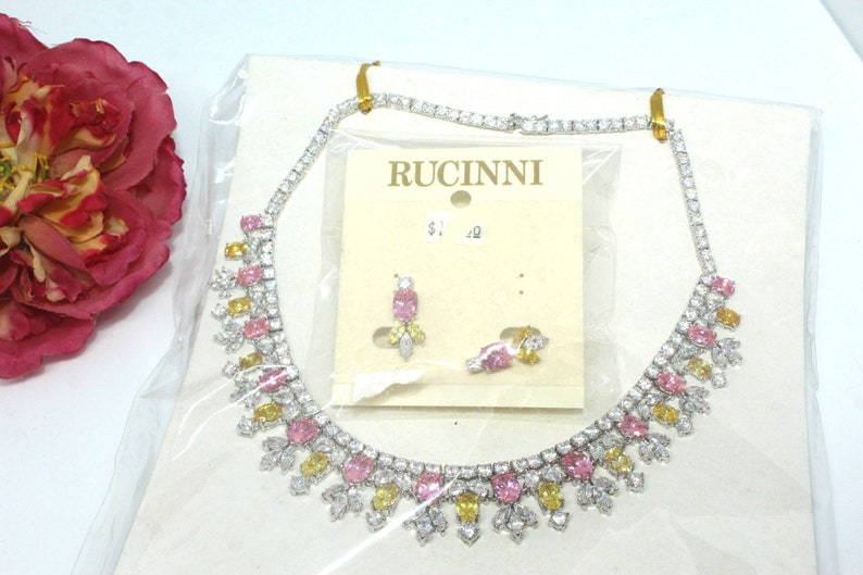 RUCINNI Couture Rhinestones Stunning Pastel Color Jeweled Crystals Silver Tone Necklace Set BX3
