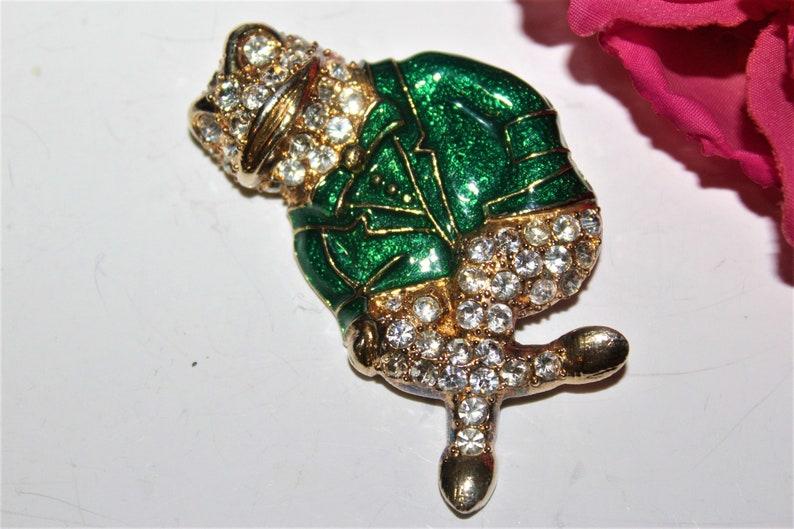 Eisenberg Ice Bedazzled Phenomenal Metallic Green Enamel Frog Pave Rhinestones Brooch BD17