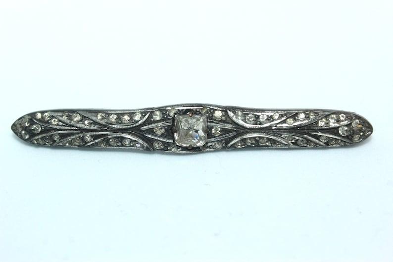 Antique EDWARDIAN Silver 800 Paste Glass Pin Brooch BU28