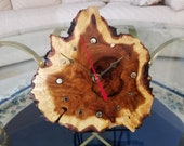 Hand-Crafted Russian Olive Burl Wood Desk, Table or Shelf Clock