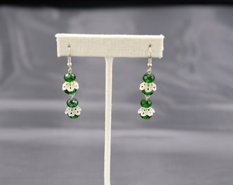 Green Beads with Silver Lining Earring