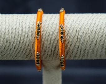 Women's Orange Bangles from India