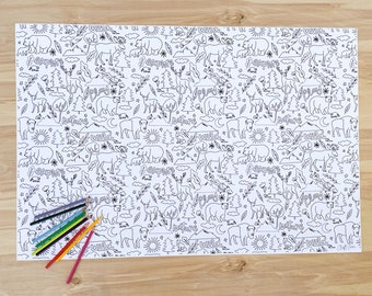 Woodland Coloring Poster - Multiple Sizes Included
