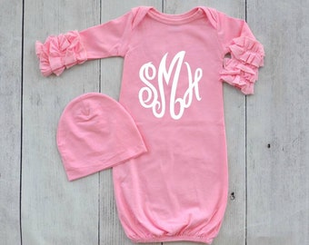 Monogrammed Ruffled Sleeve Baby Gown & Hat