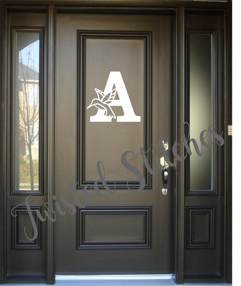 Metal Hummingbird Monogram Door Hanger for Front Porch or Patio Door Decor