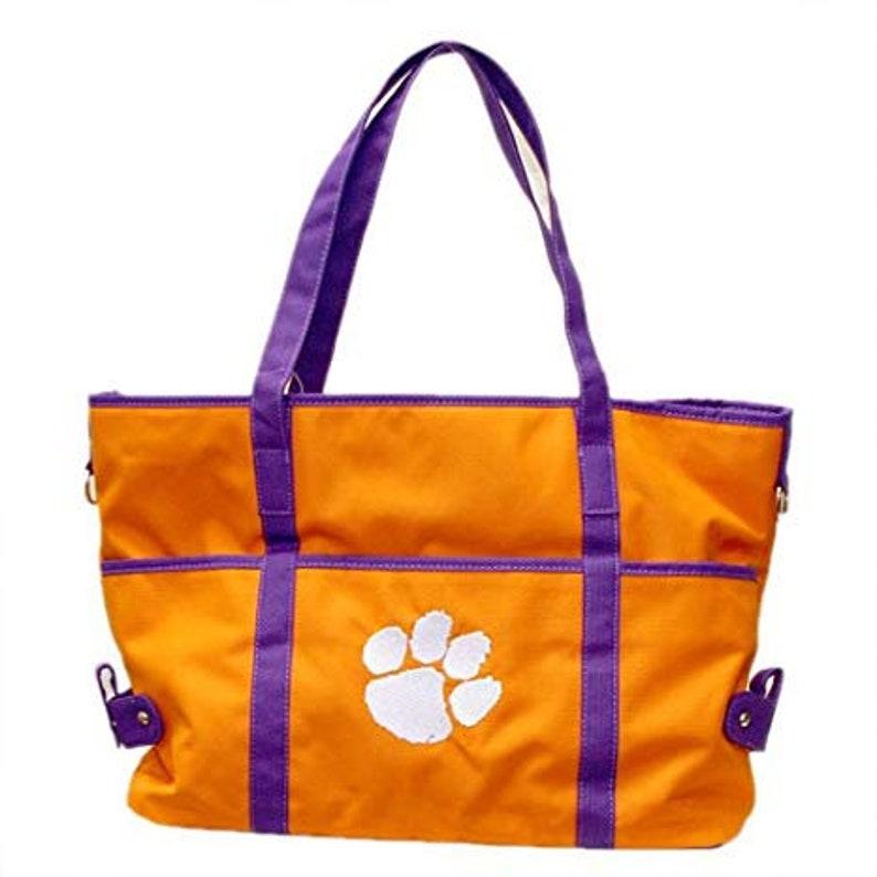 Sports Tote Clemson Tiger Paw Tailgate Tote NCAA Handbag