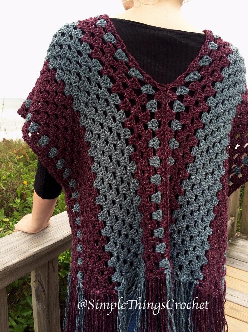 Simple Crochet Poncho pattern Easy crochet poncho top Granny image 2