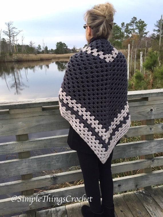 Easy Crochet Shawl Pattern Simple Granny Triangle Shawl Etsy