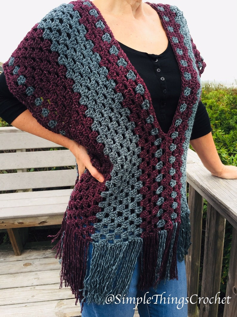 Simple Crochet Poncho pattern Easy crochet poncho top Granny image 0