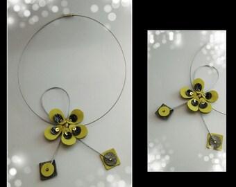 unique leather, steel and swarovski jewelry women necklace