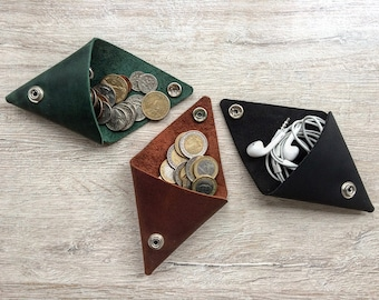 Leather Purse Leather Coin Pouch Leather Coin Purse Triangle Coin Holder Handmade Leather Wallet Change Purse Leather