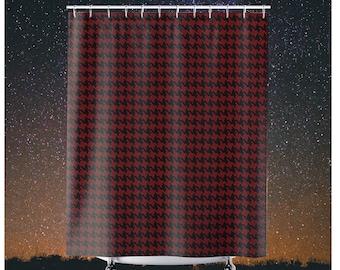 Houndstooth Shower Curtains Black Red Pattern Modern Stylish Bold