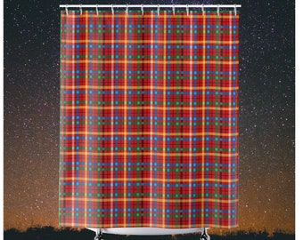 Plaid Shower Curtains Red Yellow Green Blue White Bathroom Best Seller Stylish