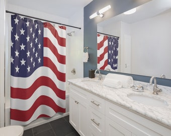 American Flag Shower Curtains