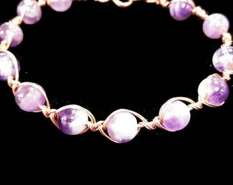 Wire wrapped amethyst bangle style bracelet