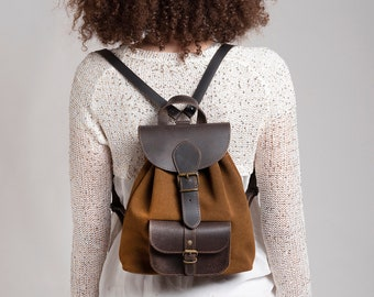 """Caramel small backpack suede with dark brown leather top and pocket fits 11"""" laptop"""