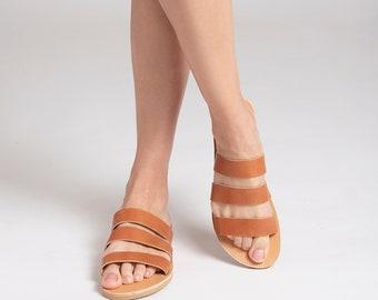 TAN LEATHER SLIDES leather sandals summer shoes Leda women slides