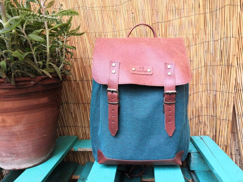 CHRISTMAS OFFER Canvas backpack with genuine leather details leather straps shoulder canvas bag in many colours.