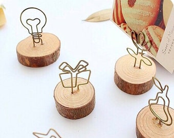 Table Number Holder | Menu Card Holder | Wedding Table Number Card Holder | Guest List Clip | Wooden Card Holder