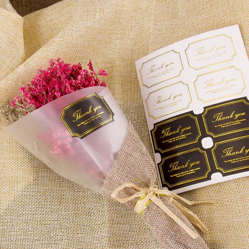 Customise Stickers Thank You Adhensive Thank You Bag Seal 120 Thank You Stickers Black White Gold Sticker Elegant Stickers