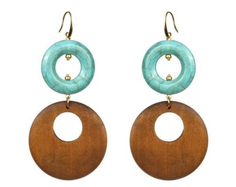 Turquoise- Wooden earrings