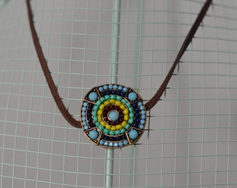 Colorful pendant brown suede choker