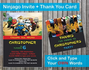 Ninjago Invite / Invitation and Thank you card - editable PDF file