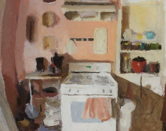 Lois's Kitchen, Original Painting on Wood