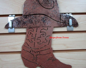 7a7d5f63599 Cowboy Boot Hat Wall Decoration Metal Art 10GA Steel Custom Hand painted