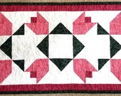 Pink Tulip Table Runner Quilted Table Runner Dining Room or Kitchen Decoration Table Linens Table Topper Birthday Gift Home Dec