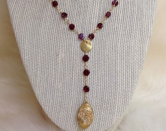 Garnet Y-Necklace
