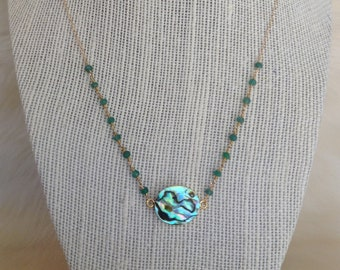 Abalone pendant with green rosary chain